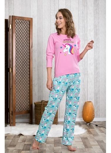 Lingabooms Unicorn Kadın 2'li Pijama Takım  Pembe